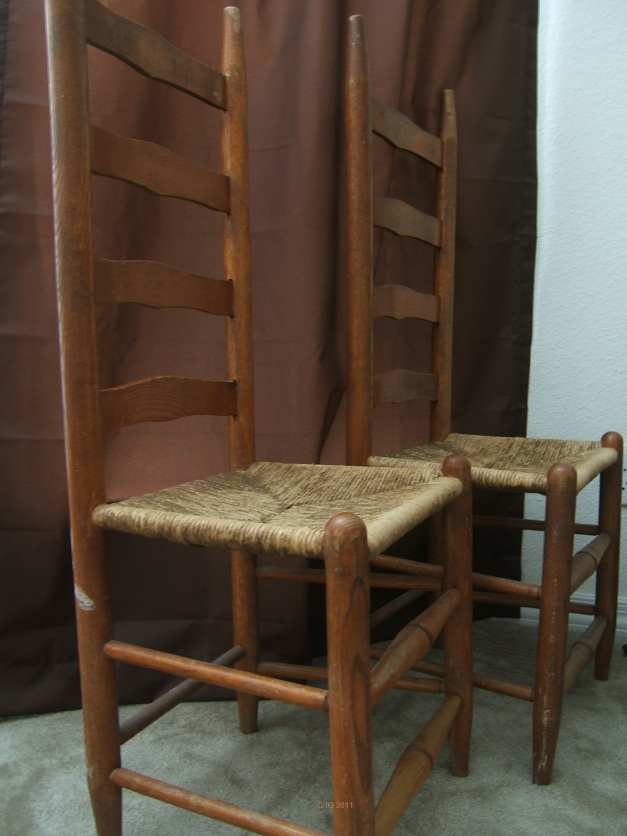 Ladder Back Chair with Wicker Bottom