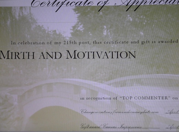 Appreciation Award for Top Commenter: Mirth and Motivation - April 2012