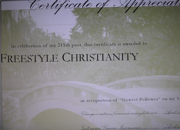 Appreciation Award for Newest Follower: Freestyle Christianity - April 2012